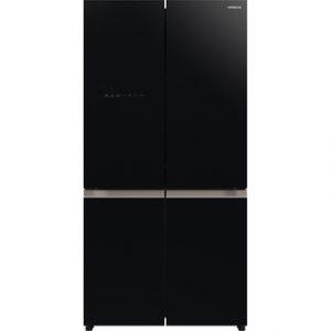 מקרר 4 דלתות מקפיא תחתון מבית היטאצ'י גימור זכוכית שחורה דגם (RWB640OVRS (GBK