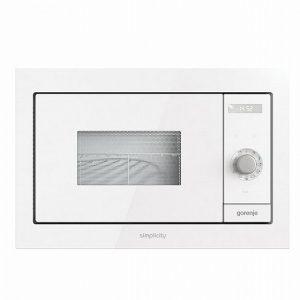 תנור מיקרוגל בנוי משולב גריל אינטגרלי מסדרת Simplicity גימור זכוכית לבנה מבית gorenje דגם BM23SYW